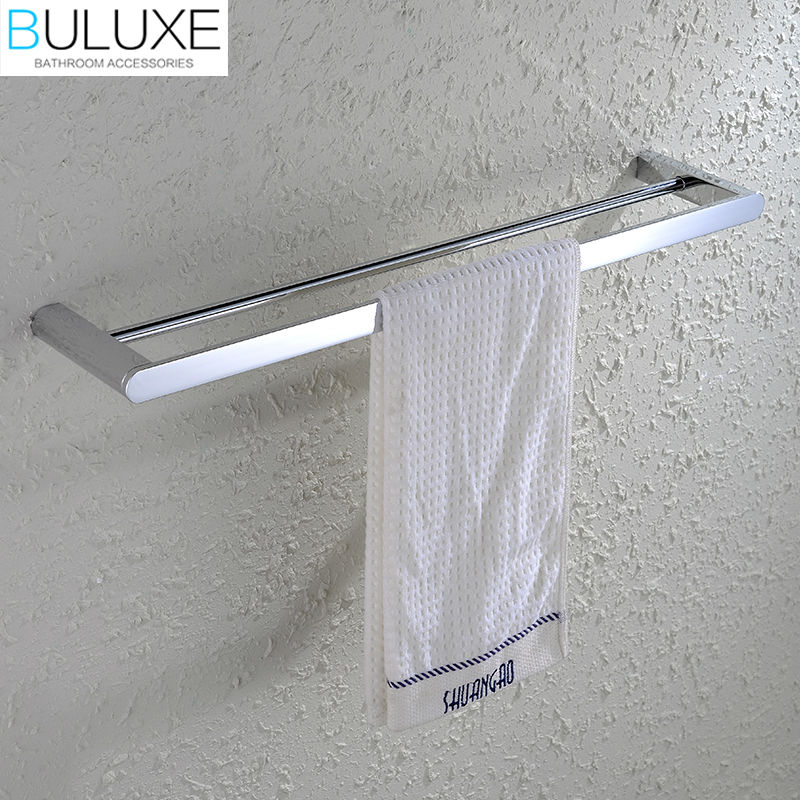 BULUXE Brass Bathroom Accessories Towel Bar Rack Holder Chrome Finished Wall Mounted Bath Acessorios de banheiro HP7736