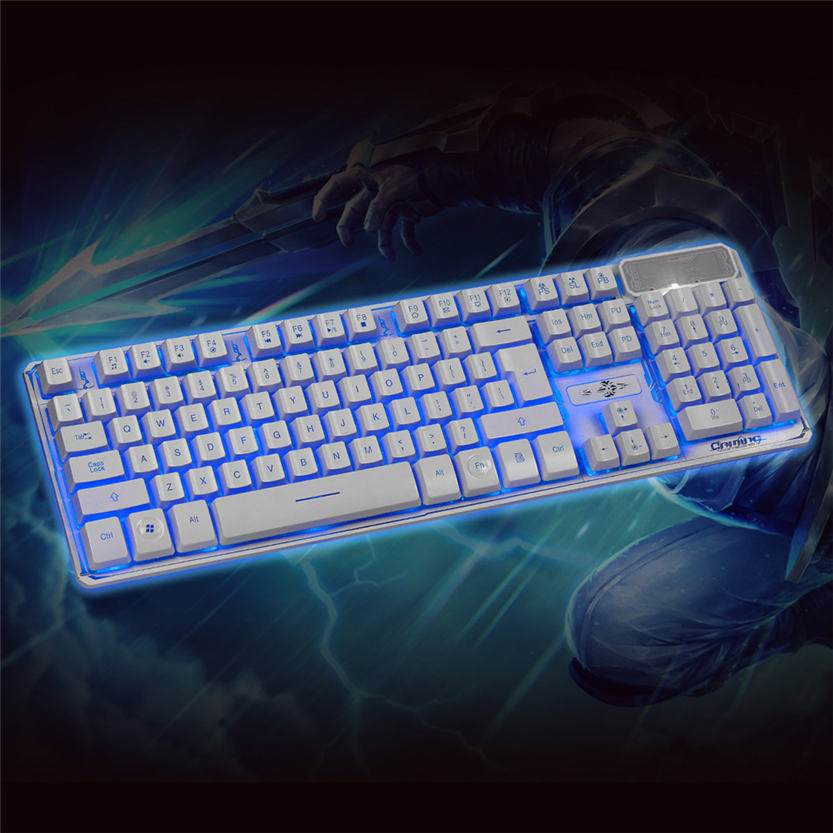 Top 3 Colors Crack Illuminated LED Backlight USB Wired Multimedia PC Gaming Keyboard July 25