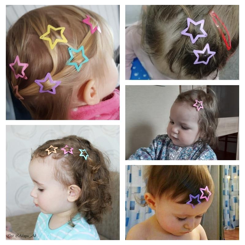 6Pcs Star Shape Metal Children Snap Hair Clips Barrettes Girls Cute Hair MC