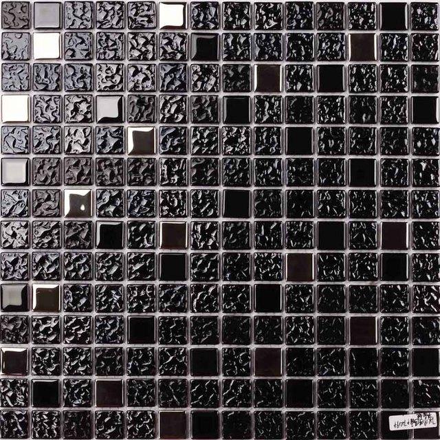Schwarz Farbe Galvani Glas Mosaik Quadratischen Fur Badezimmer