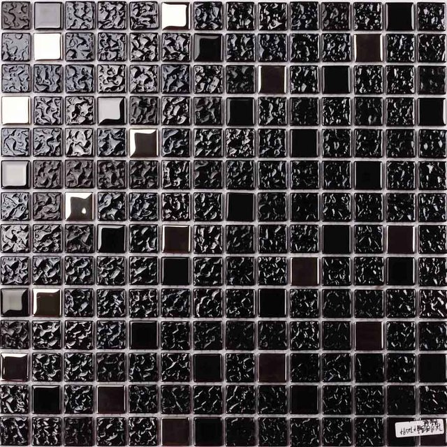 Black Color Electroplated Glass Mosaic Square For Bathroom Shower