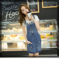 Primavera verão vestidos jeans mulheres jeans casual vestidos da moda coreano com bolso rasgado denim blue dress para a mulher