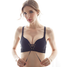 df5249dd89e Brand New Sexy Pull together Rope women Hollow out Bras female Underwear  Push Up Bra girl gather Seamless bra breast girl 2018