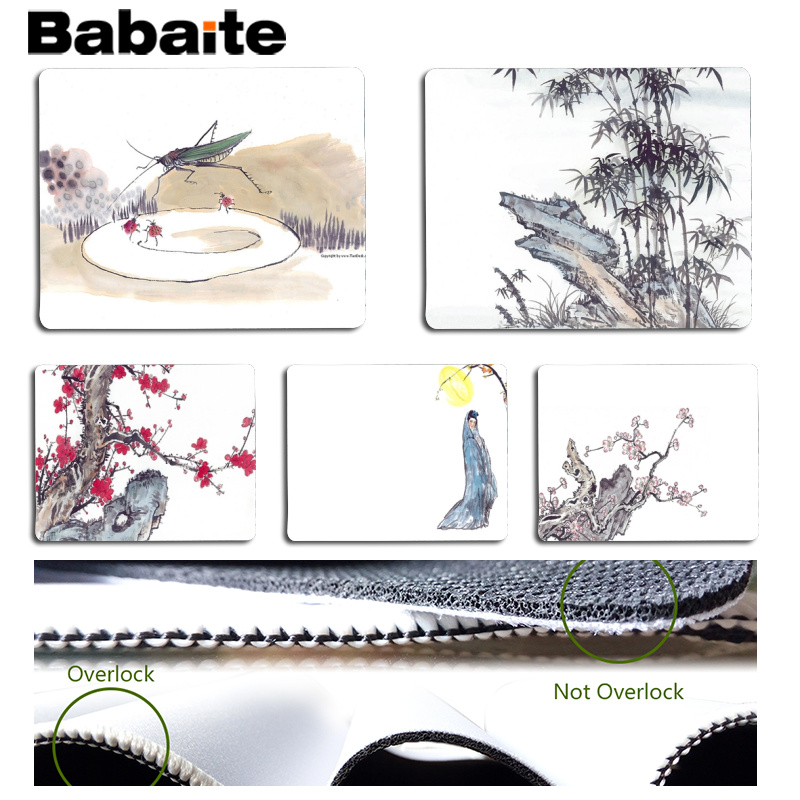 Babaite Cool New Beautiful Chinese Brush Painting Customized MousePads Computer Laptop Anime Mouse Mat Size for 18x22cm 25x29cm