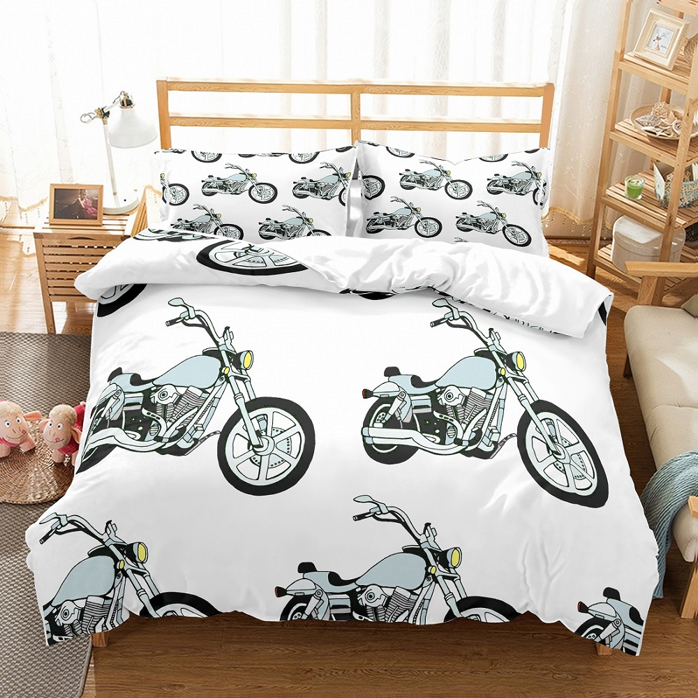 Teens Motor Bedding Set 3D Silver Motorcycle Bedspread Printed Background White Duvet Cover Set 3PCS(1 Duvet Cover 2 Pillowcase)