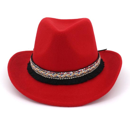 6pcs Unique Western Sequins Cowgirls Caps Men Felt Cowboys