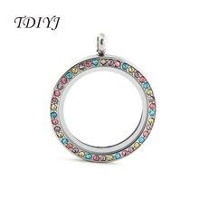 TDIYJ 10 шт. Весна новое поступление ювелирные изделия Красочные 30 мм круглый твист плавающей памяти ожерелье с медальоном кулон для разноцветных шармов