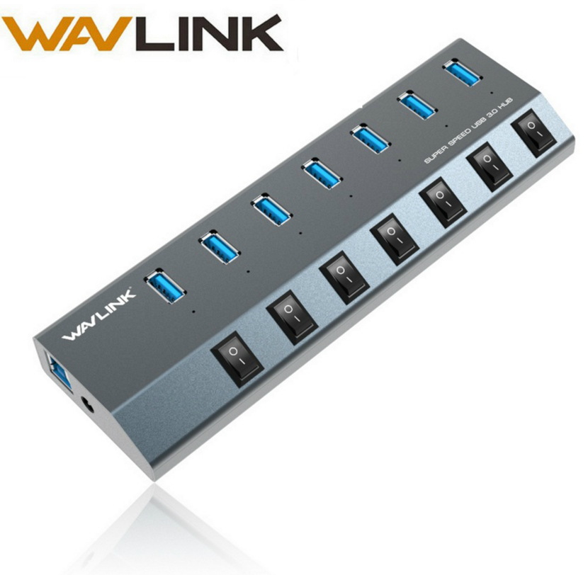 Wavlink 7 Port Aluminum USB 3.0 high speed Hub with Power Adapter On/Off Switches EU/US plug for Macbook Laptops Tablets iPhone apower link d 012b usb 2 0 7 port hub w switch us plug power adapter black