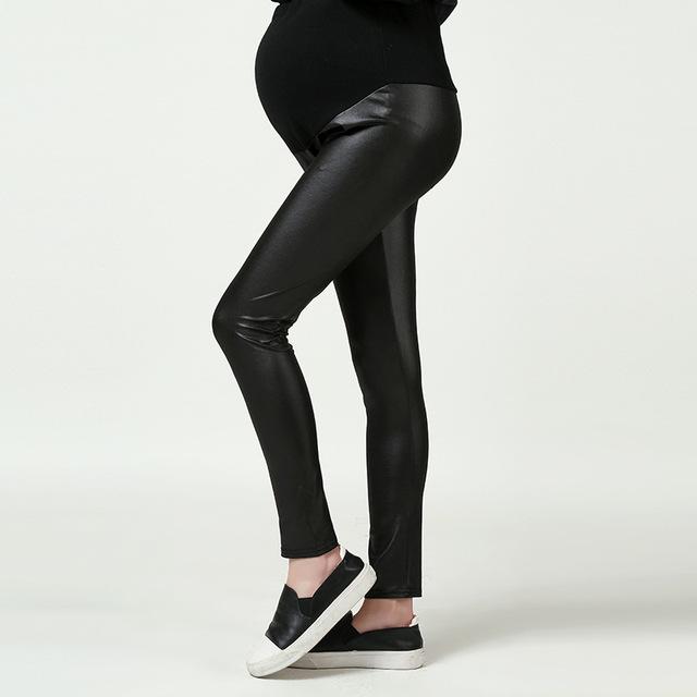 Mulheres grávidas roupas de verão primavera outono adicionar leggings de veludo elástico calças de couro com regulagem de grávidas calças mulheres barriga