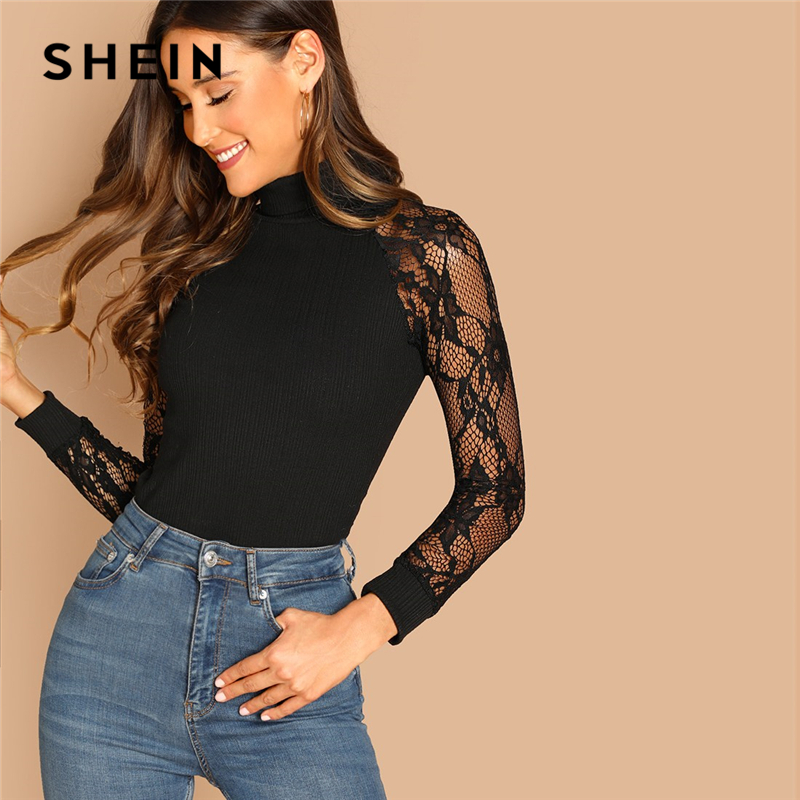 SHEIN Black Highstreet Elegant Contrast Lace Slim Fitted Solid Rib-Knit Sheer Pullovers Tee Autumn Women Casual Women Tshirt Top