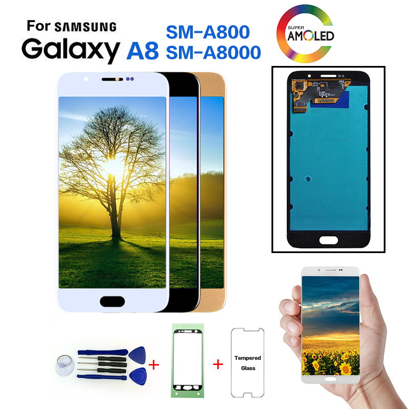 Original For <font><b>Samsung</b></font> Galaxy A8 A800 SM-A800F Display LCD Screen replacement for <font><b>Samsung</b></font> A800I <font><b>A8000</b></font> LCD display screen module image