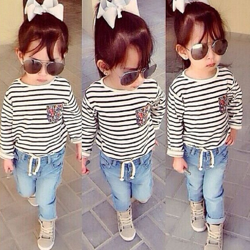 Kids Tales kid girls clothing set for 2 3 4 5 6 7 8 years Stripe long sleeves T-shirt+jeans 2PCS Costume fall Children outifts stripe pattern off shoulder long sleeves waist tie playsuit with tassel detail page 7