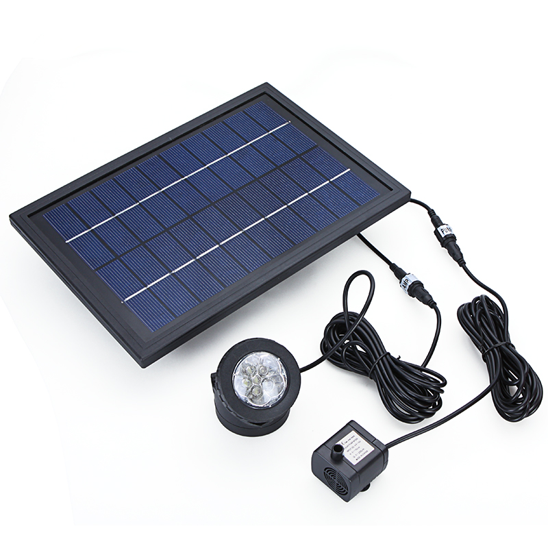Earnest 10v 5w Brushless Solar Power Water Pump Decorative Fountain Water Pump With 6 Led Spotlight For Garden Pond Pool Water Cycle
