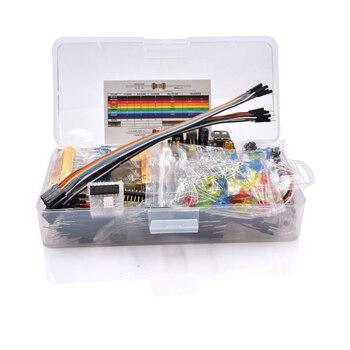 Базовый стартовый набор компонентов электроники с 830 точками связи макетная плата кабель резистор конденсатор светодиодный потенциометр упаковка коробки