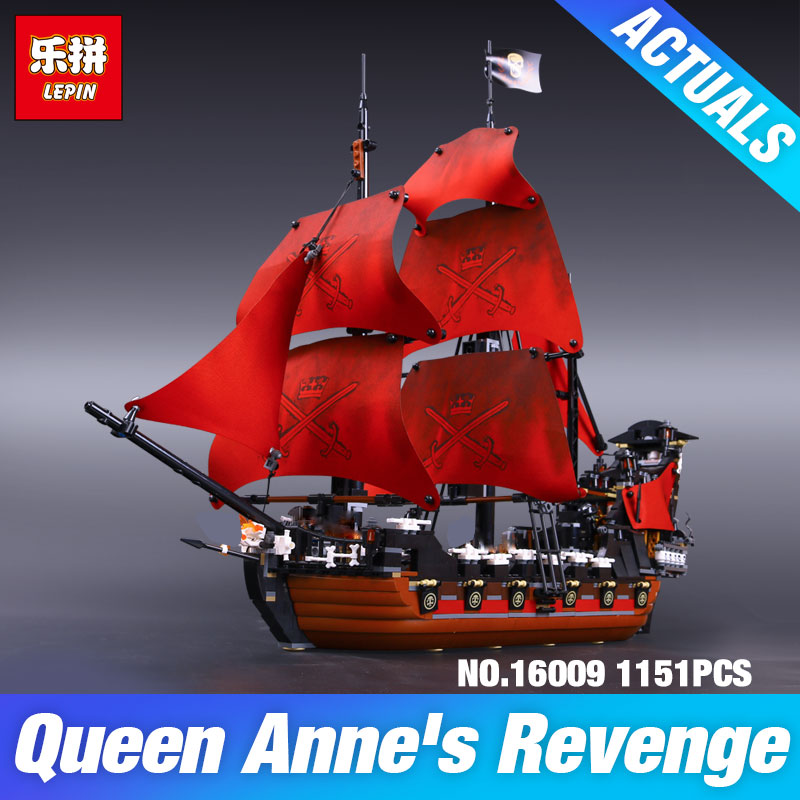 LEPIN 16009 Caribbean Queen Anne's revenge Pirates 16006 The Black Pearl 16018 Ghost Pirate Toys Building Blocks 4195 Boy's Gift model building blocks toys 16009 1151pcs caribbean queen anne s reveage compatible with lego pirates series 4195 diy toys hobbie