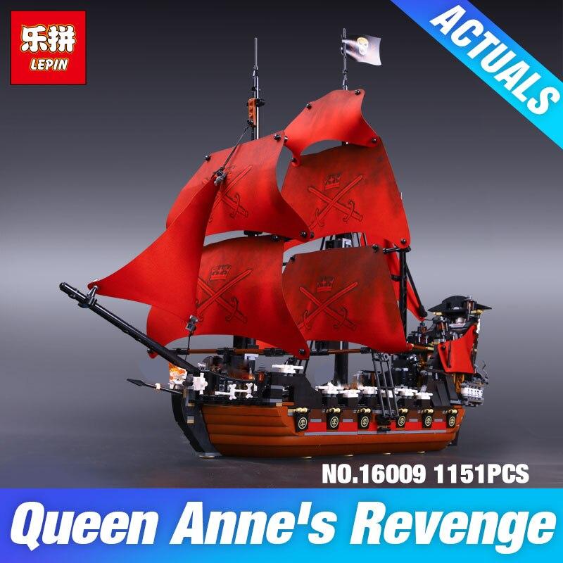 LEPIN 16009 Caribe venganza de la Reina Ana piratas 16006 La Perla Negro 16018 pirata fantasma bloques de construcción de juguetes 4195 regalo de