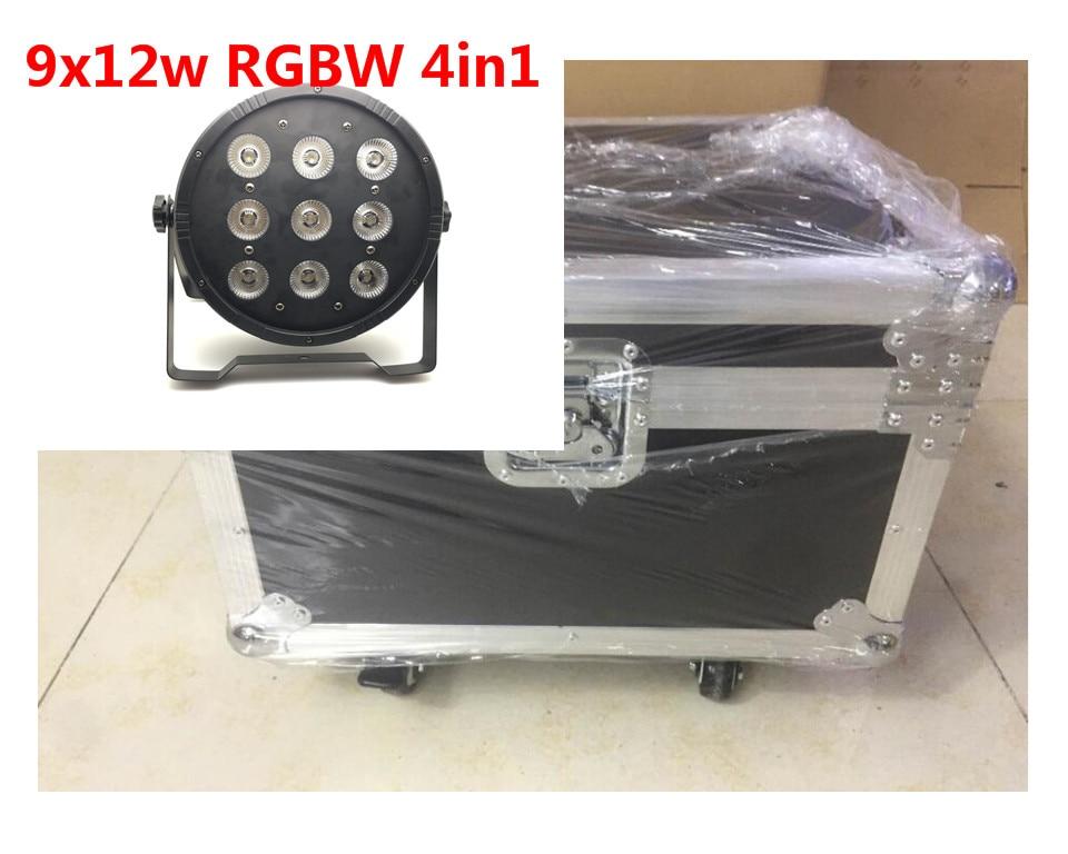 8 unids 9x12 w con flightcase dj discoteca de iluminacion par led rgbw etapa Par Luz Controlador DMX Disco Party Bar Strobe Oscu ...