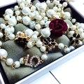 2017 Женщин Небольшой Ароматный Длинный Свитер Цепи жемчужное Ожерелье и кулон позолоченные Роскошный цветок Куб. См Ожерелье для женщин