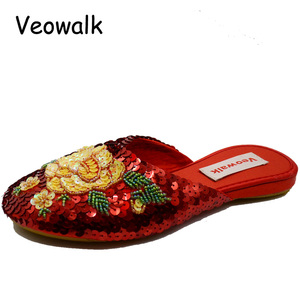 Image 2 - Veowalk Handmade Vintage Womens Slippers Flat Heel Ladies Chinese Bling Sequins Flower Soft Sole Casual Summer Outside Shoes