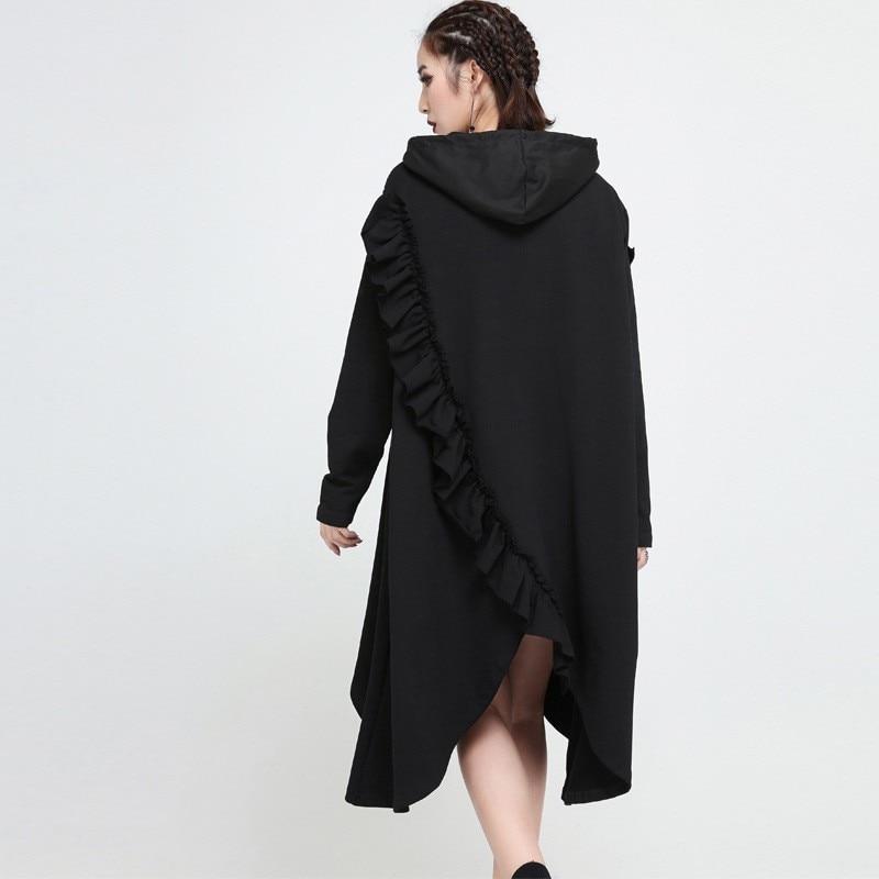 New Fashion Style Hooded Long Sleeve Black Ruffles Split Joint Irregular Hem Dress Fashion Nova Clothing