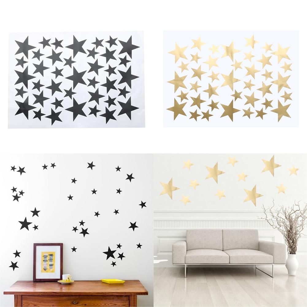 Diy 39pcs Little Gold Star Stickers Home Decor Living Room
