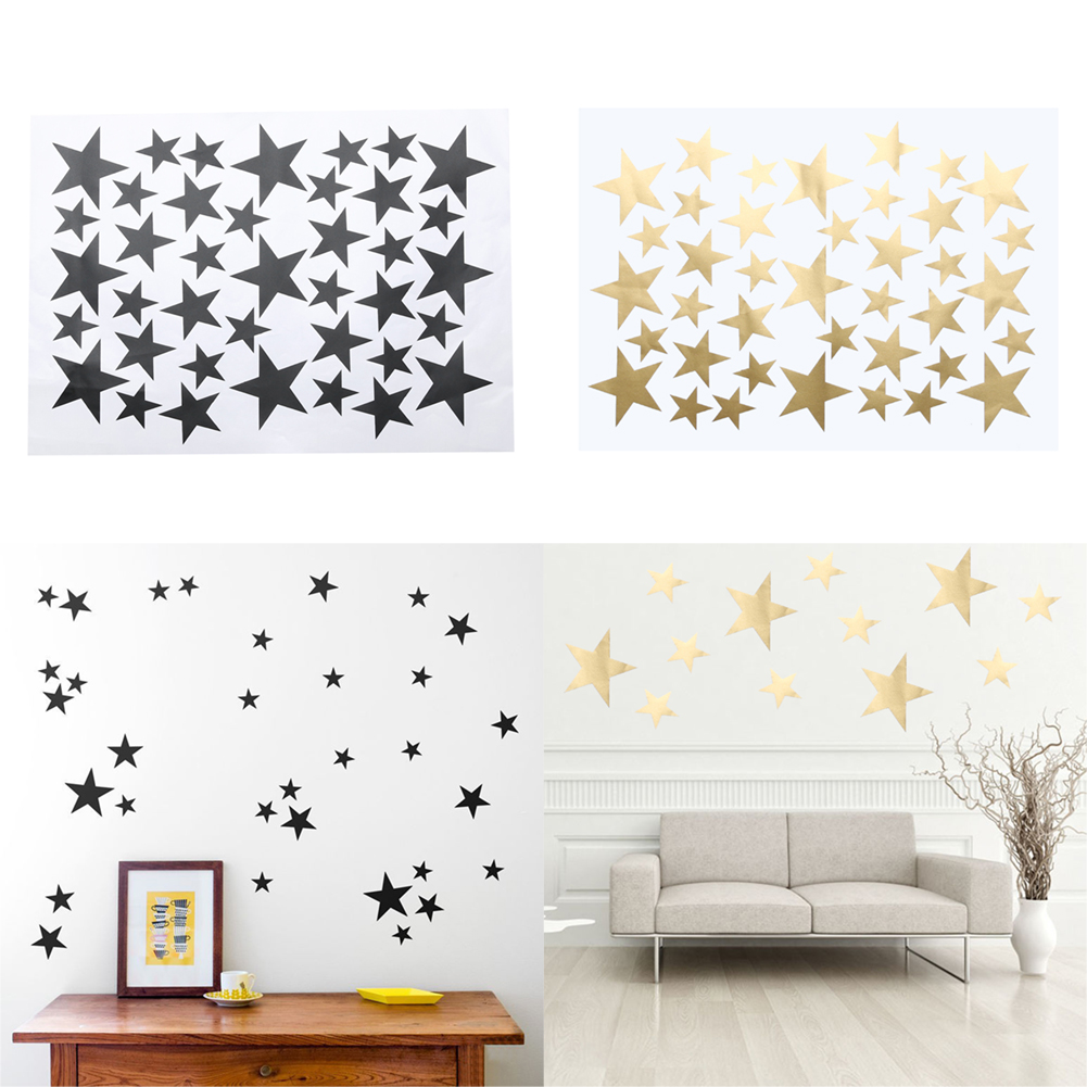39pcs lot diy star wall stickers five pointed star removable pvc home wall decals for living. Black Bedroom Furniture Sets. Home Design Ideas