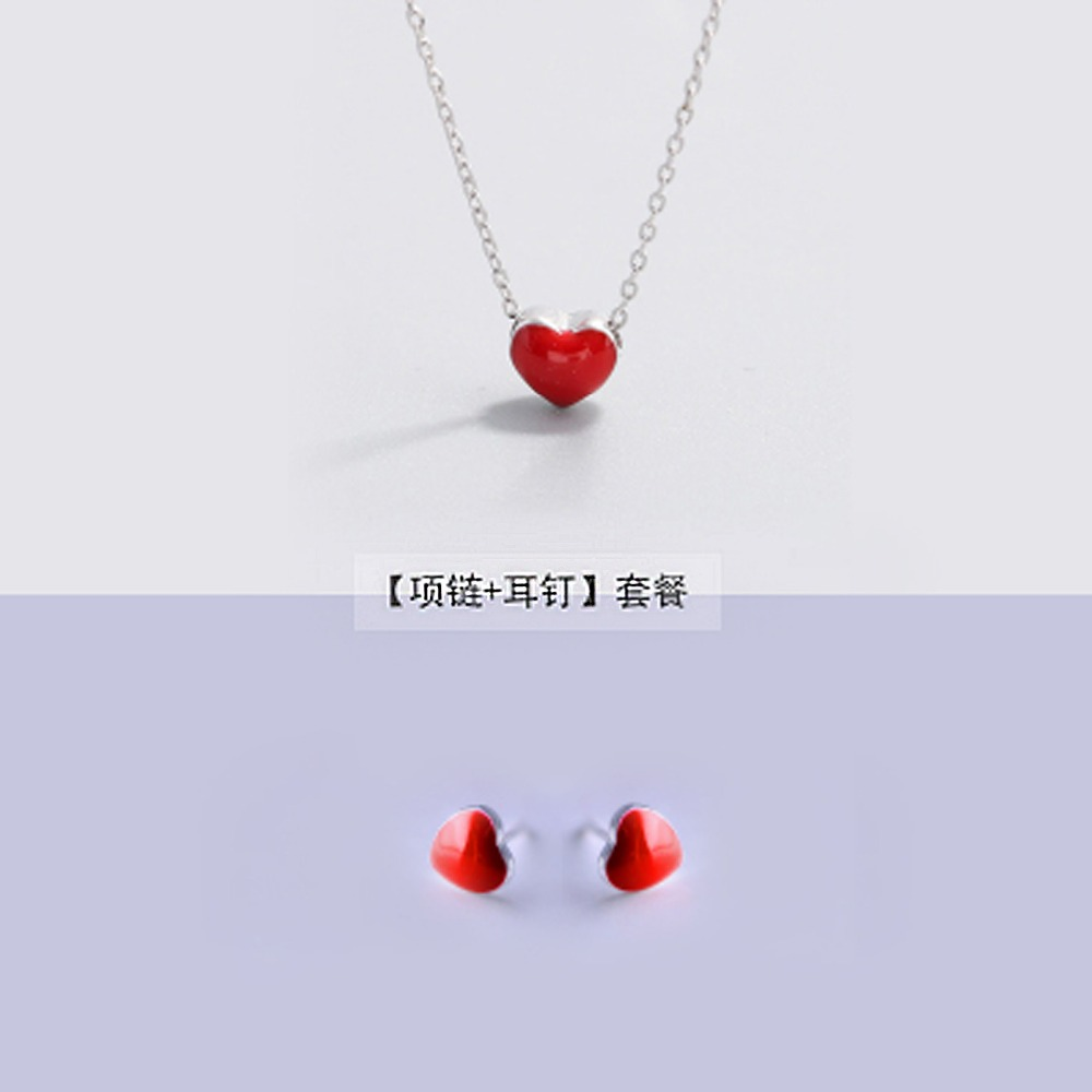 925 silver Earrings + necklace for Women Fashion Jewelry Sets Cute Tiny Red Glaze Heart Stud Earrings For Girls Kids Lady Gift