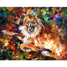 Hand Painted Landscape Abstract Dog oil painting Palette Knife Modern Oil Painting Canvas Wall Art Living Room Artwork Fine Art