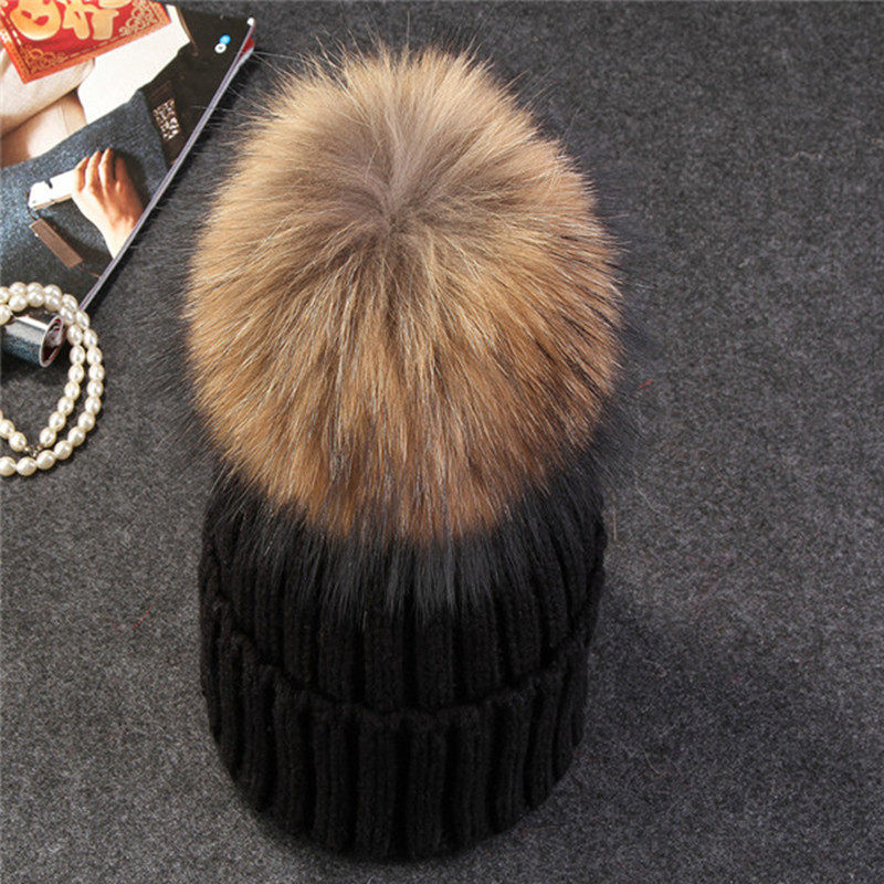 aa69280c03c Xthree mink and fox fur ball cap pom poms winter hat for women girl  s hat  knitted beanies cap brand new thick female cap - TakoFashion - Women s  Clothing ...