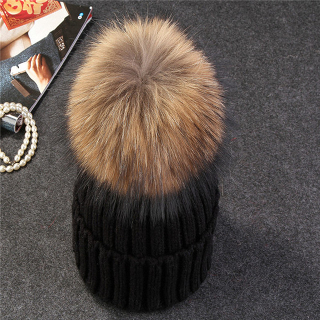 Fox fur ball pom poms winter hat knitted  beanies brand new thick cap 1