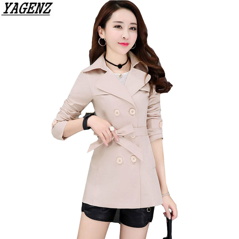 YAGENZ Spring Autumn Women   Trench   Coat 2017New Fashion Solid Color Belt Windbreaker Female Long Sleeve Overcoat High Quality 257