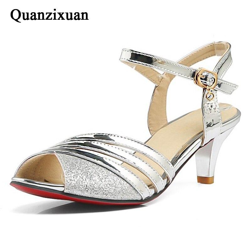 Quanzixuan Women Sandals Women Shoes Fashion Low Heels Sandals Bling Gold Ladies Shoes 2018 Women Heel Shoes Peep Toe