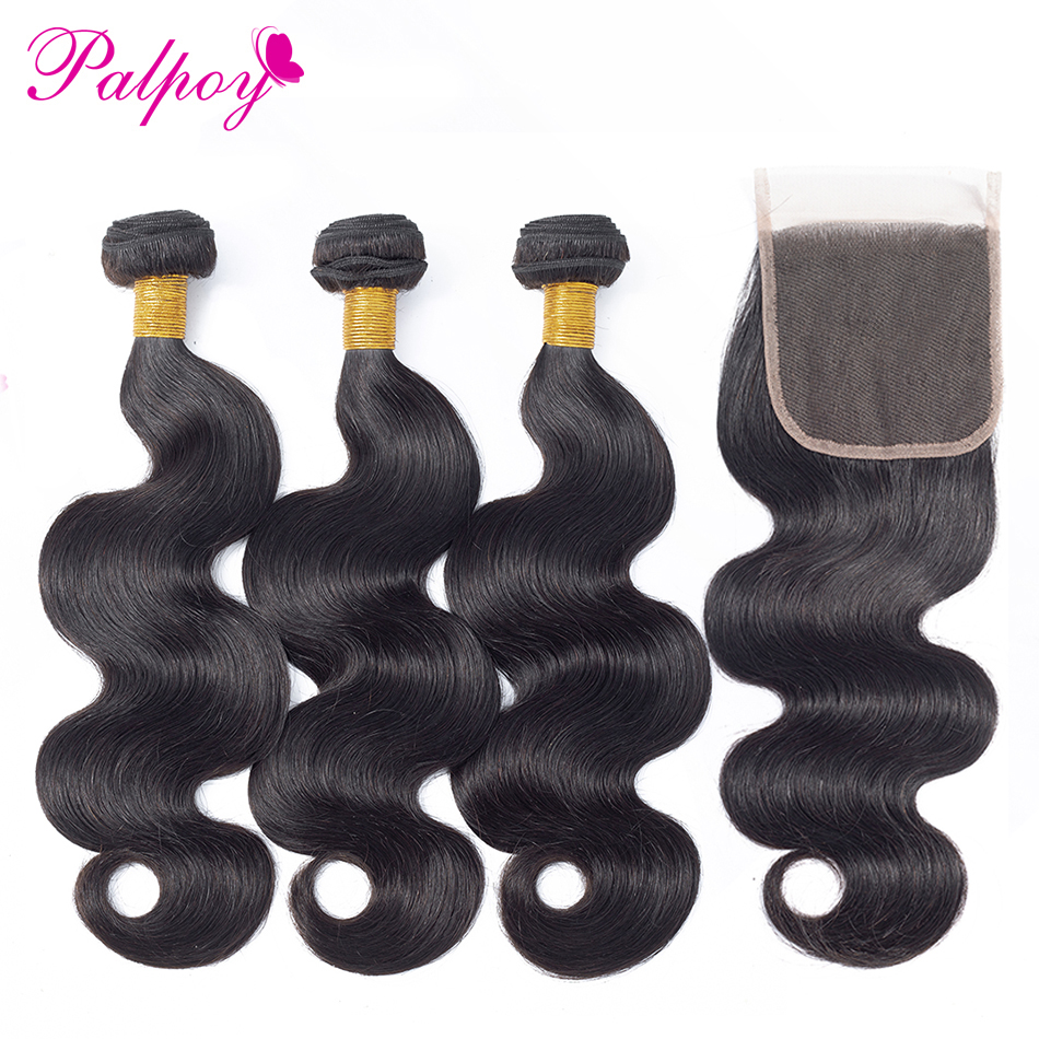 PALPOY Brazilian Body Wave 3 Bundles With Closure Natural Color Non Remy Human Hair Bundles With