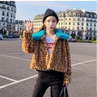 2019 New Arrival Womens Small Fake Raibbit Fur Jackets Short Section Leopard Warm Faux Fur Coats S/Xl Female Fur Outwears K950