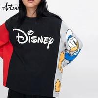 Artsnie streetwear cartoon print women sweatshirt spring 2019 oversized hoodie o neck long sleeve knitted casual sweatshirts