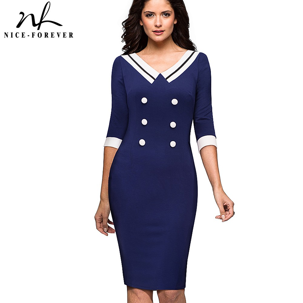 Nice Forever Vintage Contrast Color Patchwork V Neck Wear To Work Button Vestidos Office Business Women