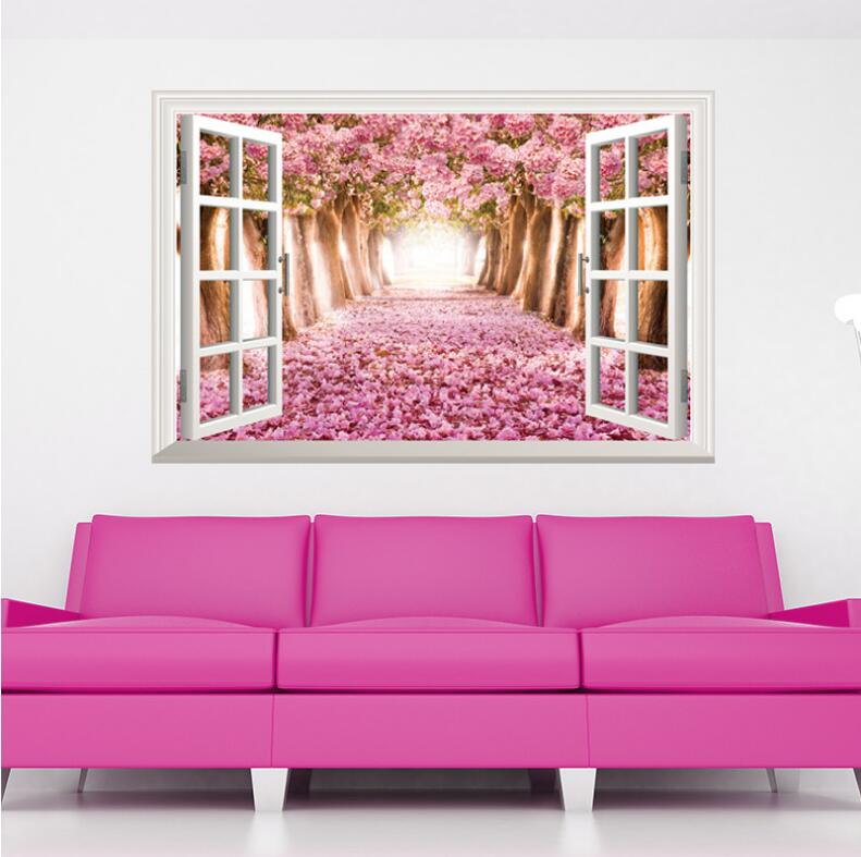 Warm Romantic Flowering Cherry 3D False Window Scenery DIY Wall ...