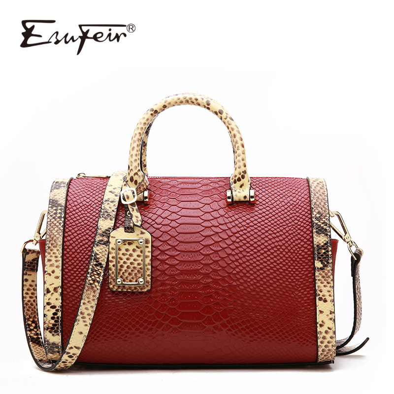 2018 ESUFEIR Genuine Leather Boston Bag Handbag For Women Serpentine Embossed Shoulder Bag Casual Tote Large Capacity Pillow Bag 2017 esufeir brand genuine leather women handbag fashion shoulder bag solid cowhide composite bag large capacity casual tote bag