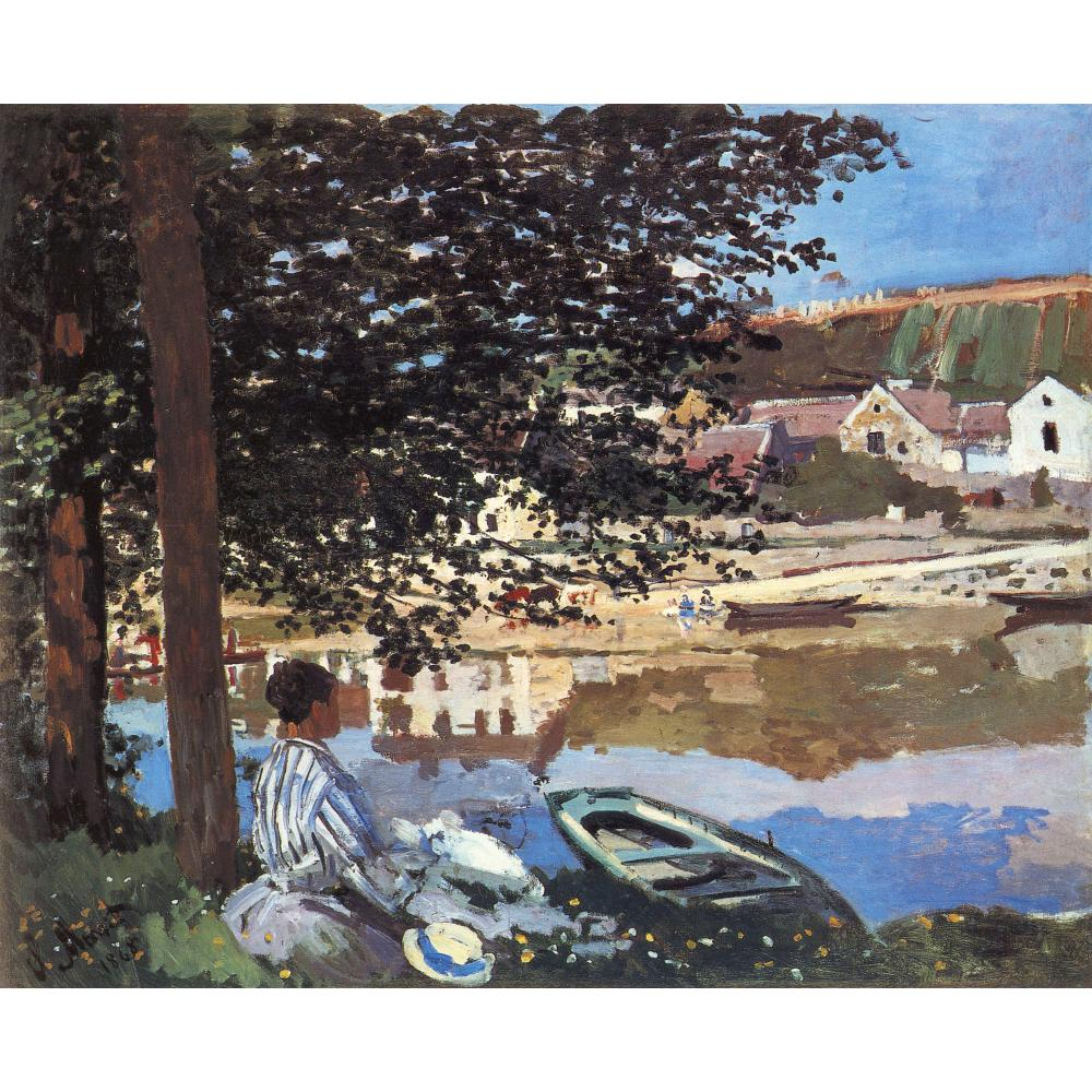 Handmade oil painting reproduction of Claude Monet High quality River Scene at Bennecourt Living room decorHandmade oil painting reproduction of Claude Monet High quality River Scene at Bennecourt Living room decor