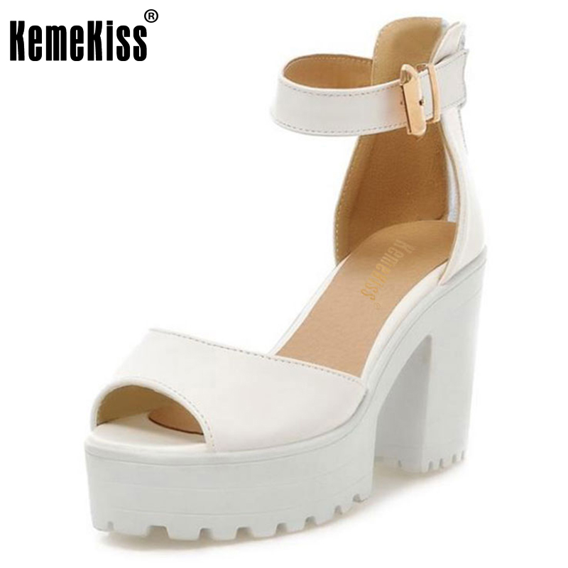 KemeKiss New Arrival Shoes Wrap Open Toe Women Ankle Strap Sandals Thick Heel Platform Women Sandals Size 34-43 PA00776 new arrival black women pumps ankle strap sandals platform cutout shoes woman sexy thin high heel sandals size 34 to 42 free shi