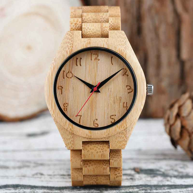Bamboo Male Watch Handmade Engraving Numbers Dial Natural Wooden Wristwatch 100% Full Wood Bangle Men's Sport Quartz Clock Hours