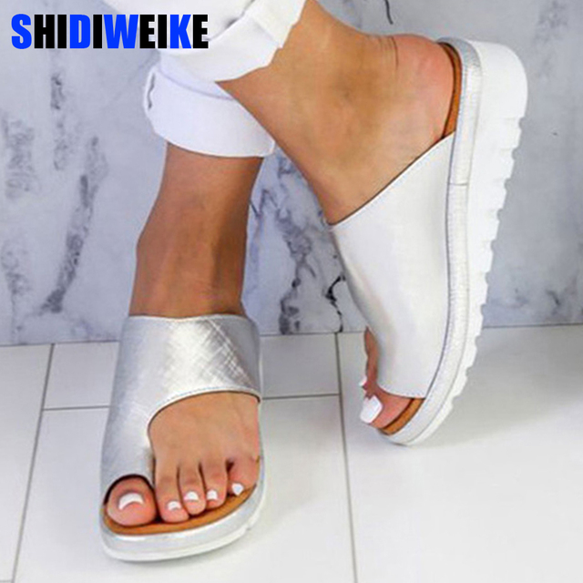Del 2019 43 Zapatillas Mujeres Pie Zapatos Sandalias Fondo Las Cuñas De Manga Mujer Tamaño Plataforma Plano 34 Dedo JTK1uc3lF5