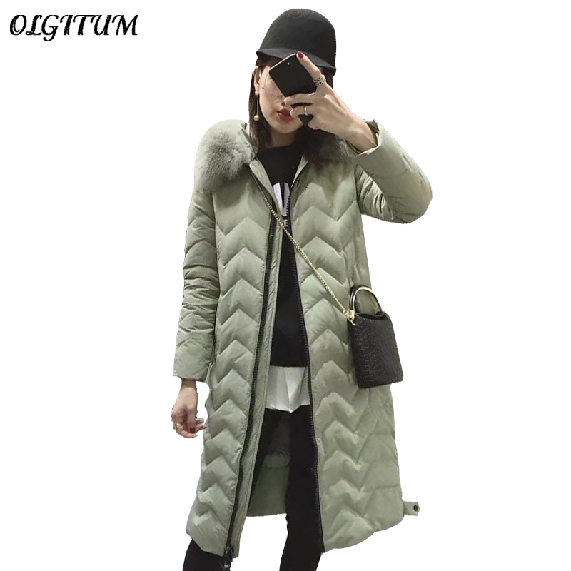 2018 New Korean duck cotton coat Fashion jacket Women long paragraph fox fur collar hooded winter coat Wave loose cotton parka 2017 new fashion winter parkas large fur collar hooded jacket loose cotton coat thickened student long coat female outwears