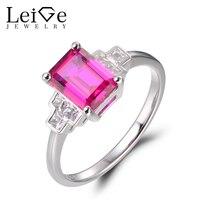 Leige Jewelry Ruby Rings Anniversary Rings Emerald Cut Red Gemstone Rings July Birthstone 925 Sterling Silver Vintage Rings