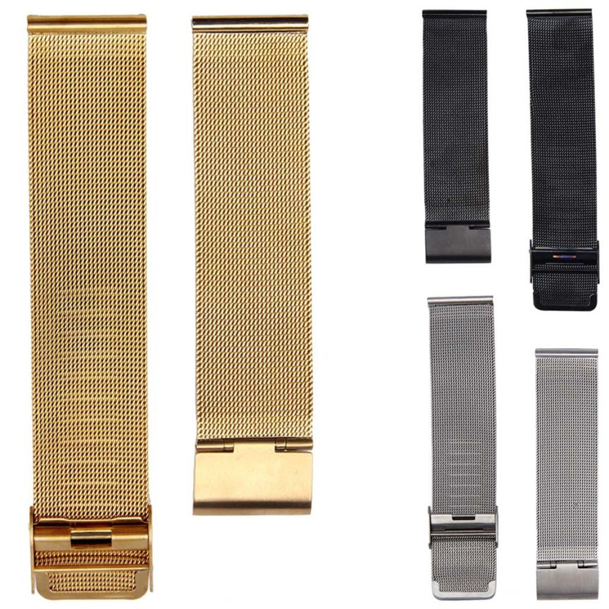 NEW Arrival Watch Band 18/20/22/24mm Stainless Steel Watch Mesh Bands Strap For Wristwatch Double Clasp Bracelet Gold new arrival watch band carbon fibre watch strap with leather lining stainless steel clasp free shipping