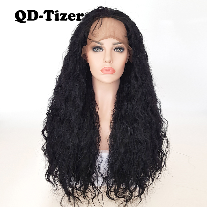 QD-Tizer Black Long Loose Curly Hair Lace Front Wig Glueless Heat Resistant Kinky Curl Synthetic Lace Front Wig for Black Women