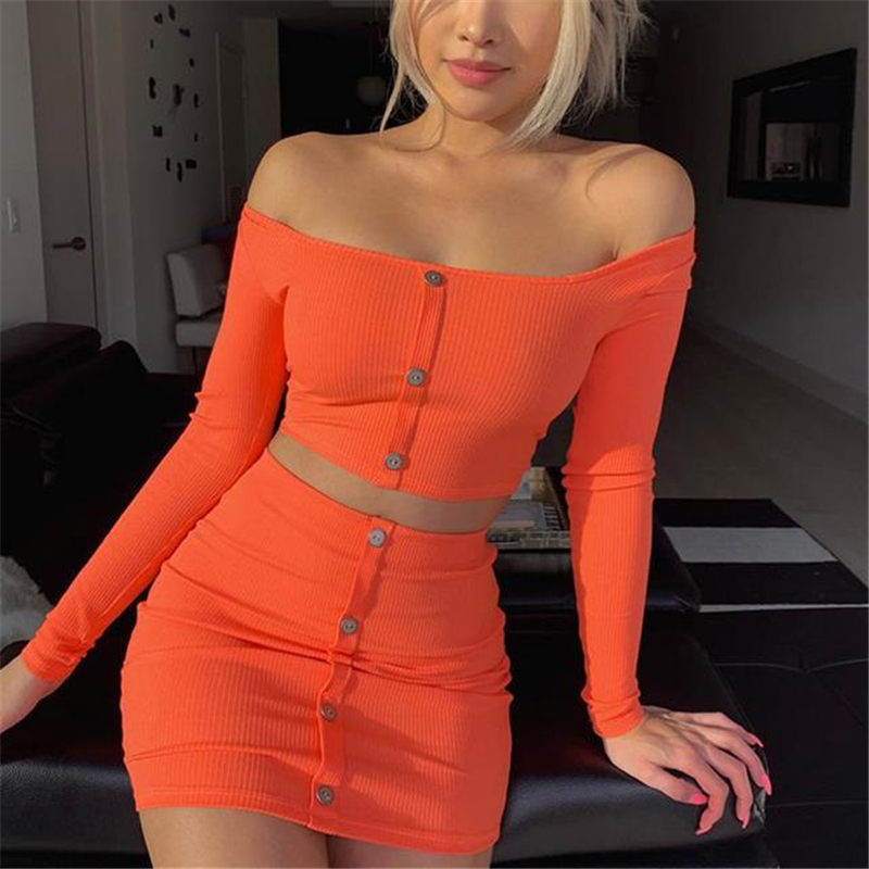 Women Clothes Set Summer Skirt Crop Top 2 Piece Set Dress Ladies Bodycon Party Clubwear Solid Color Knitted Womens Clothing Sets