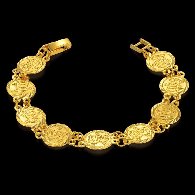 Allah Men Bracelet Jewelry Wholesale 19CM Gold Color Coin Bracelet For Women/Men Islam Allah Link Chain, pulseras hombre