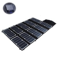65W 2 Port DC USB Solar Charger with High efficiency Portable Foldable Solar Panel PowermaxIQ Technology for iPhone, iPad, iPod
