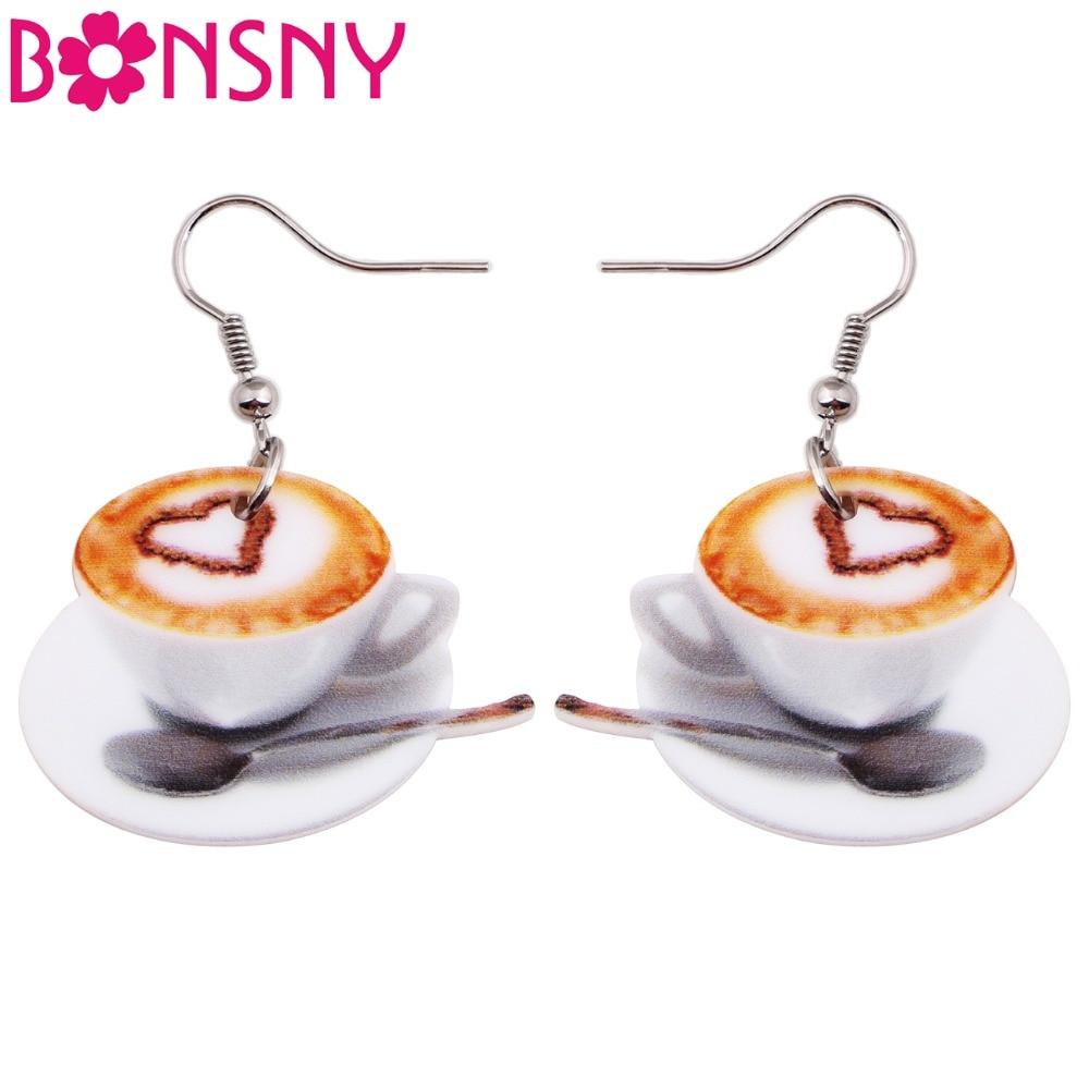 Bonsny Statement Acrylic Heart Coffee Earrings Drop Dangle Long Novelty Food Jewelry Charms Pattern For Women Girls Gifts Bijoux